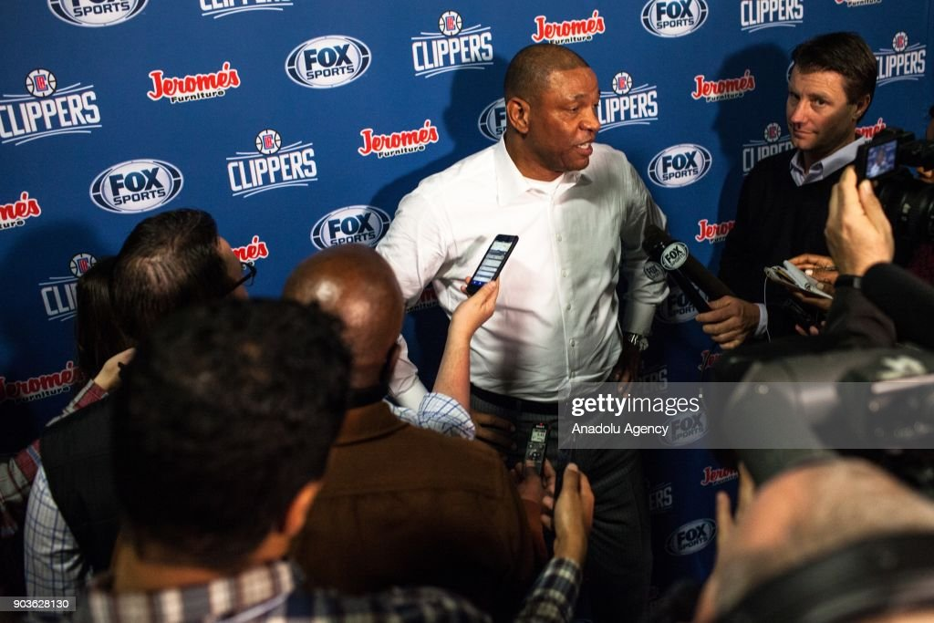 Head coach of LA Clippers Doc Rivers speaks during a press conference before the start of an NBA basketball match against the Golden State Warriors at the Oracle Arena in Oakland, United States on January 10, 2018.