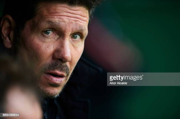 Head coach of Club Atletico de Madrid Diego Pablo Simeone looks on prior to the La Liga match between Real Betis and Atletico Madrid at Estadio...