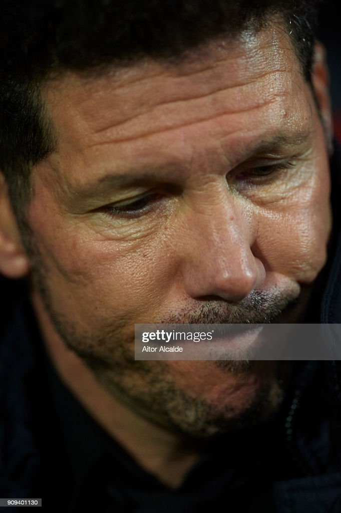 Head coach of Club Atletico de Madrid Diego Pablo Simeone looks on during the Copa del Rey, Quarter Final, second Leg match between Sevilla FC and Atletico de Madrid at Estadio Ramon Sanchez Pizjuan on January 23, 2018 in Seville, Spain.
