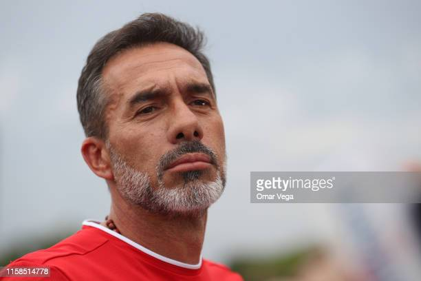 Head Coach of Costa Rica Gustavo Matosas gestures during the Costa Rica's National Team Training Session at University of Houston on June 26 2019 in...