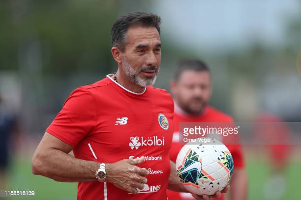 Head Coach of Costa Rica Gustavo Matosas handles the ball during the Costa Rica's National Team Training Session at University of Houston on June 26...