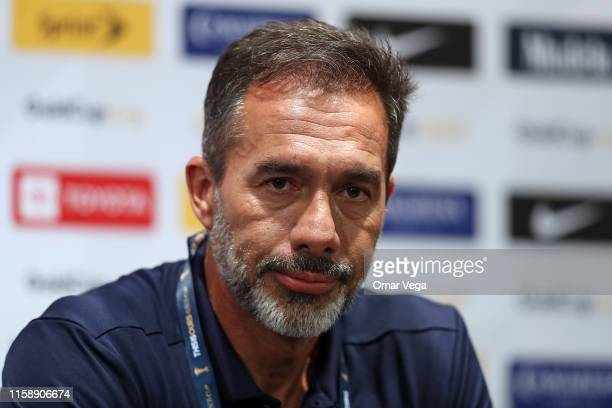 Head coach of Costa Rica Gustavo Matosas reacts during press conference as part of 2019 CONCACAF Gold Cup at NRG Stadium on June 28 2019 in Houston...