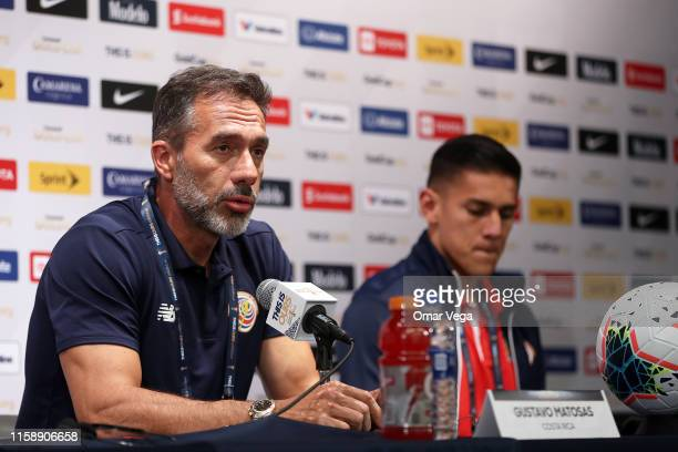 Head coach of Costa Rica Gustavo Matosas speaks during press conference as part of 2019 CONCACAF Gold Cup at NRG Stadium on June 28 2019 in Houston...