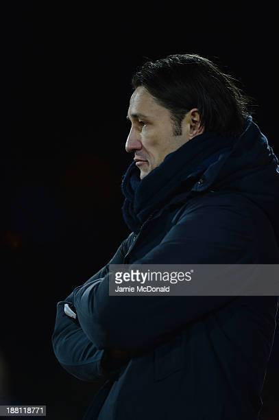 Head coach of Croatia Niko Kovac looks on during the FIFA 2014 World Cup Qualifier Playoff First Leg match between Iceland and Croatia at the...