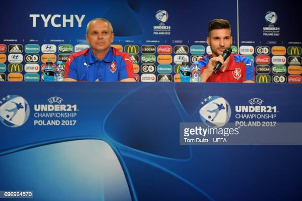 Head coach of Czech Republic Vitezslav Lavicka and team captain Michal Travnik answer questions during the press conference at Tychy Stadium on June...