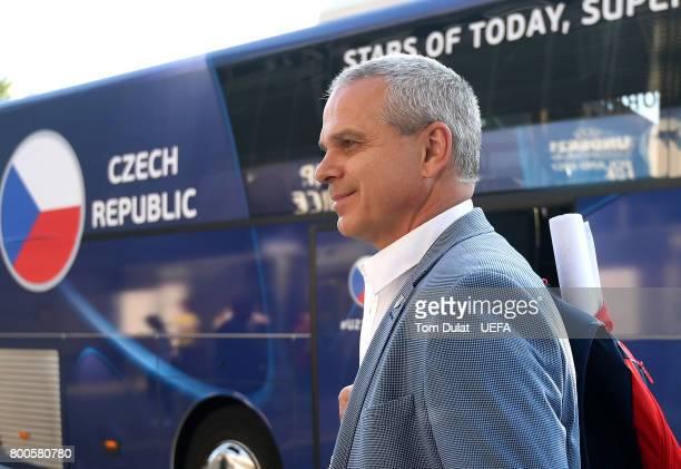 Head coach of Czech Republic Vitezslav Lavicka arrives at the stadium prior to the UEFA European Under21 Championship Group C match between Czech...