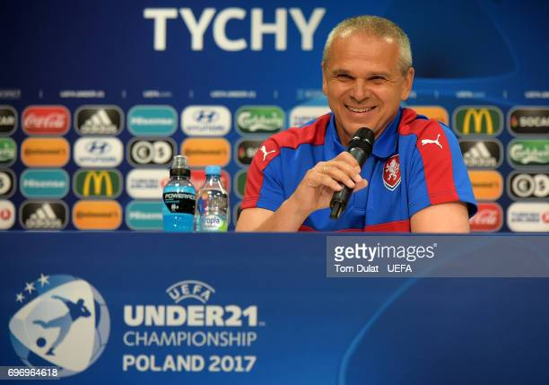 Head coach of Czech Republic Vitezslav Lavicka speaks during the press conference at Tychy Stadium on June 17 2017 in Tychy Poland