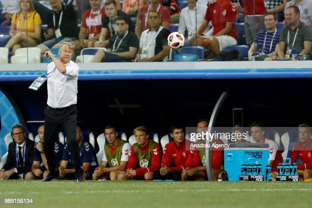Head coach of Denmark Age Hareide is seen during the 2018 FIFA World Cup Russia Round of 16 match between Croatia and Denmark at the Nizhny Novgorod...