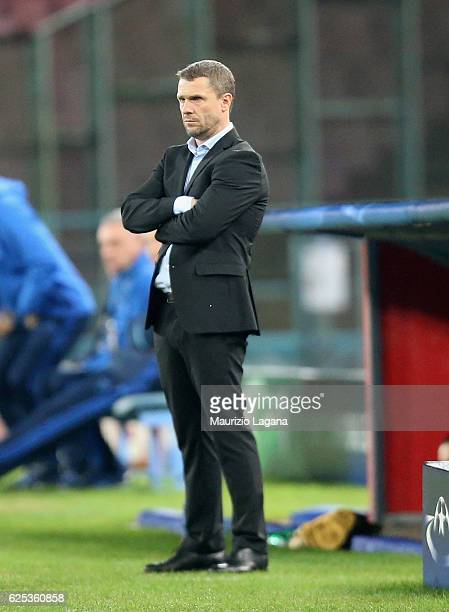 Head coach of Dynamo Kyiv Serhiy Rebrov during the UEFA Champions League match between SSC Napoli and FC Dynamo Kyiv at Stadio San Paolo on November...