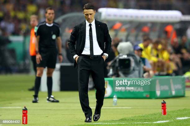 Head coach of Eintracht Frankfurt Niko Kovac looks on during the DFB Cup final match between Eintracht Frankfurt and Borussia Dortmund at...