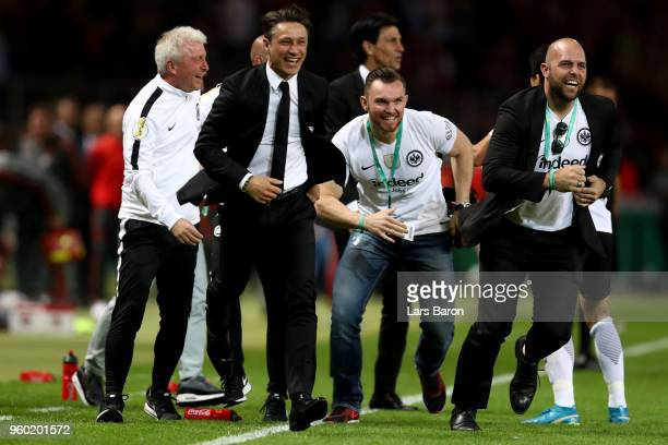 Head coach of Eintracht Frankfurt Niko Kovac reacts after winning the DFB Cup final against Bayern Muenchen and Eintracht Frankfurt at Olympiastadion...