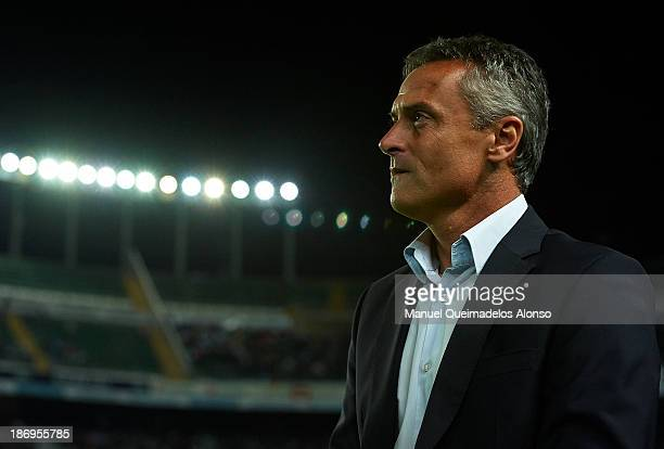 Head coach of Elche Fran Escriba looks on prior to the start the La Liga match between Elche CF and Villarreal CF at Estadio Manuel Martinez Valero...
