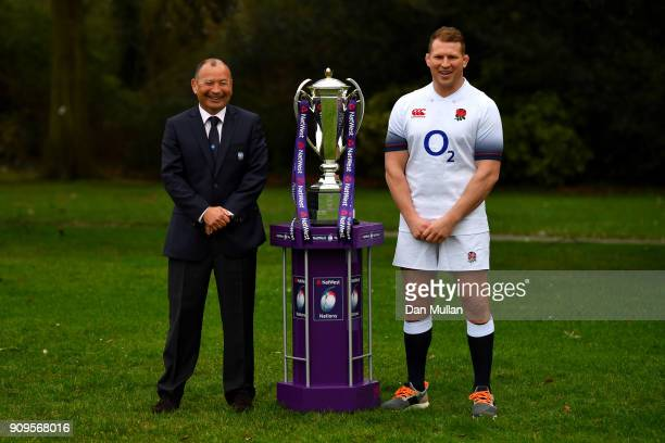 Head coach of England Eddie Jones and Dylan Hartley of England pose with the trophy during the 6 Nations Launch event at the Hitlon on January 24...