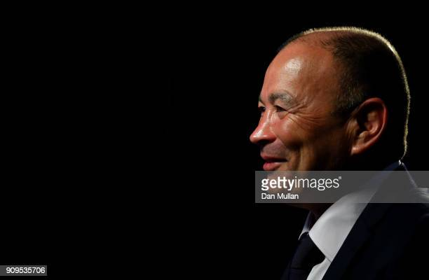 Head coach of England Eddie Jones speaks during the 6 Nations Launch event at the Hitlon on January 24 2018 in London England