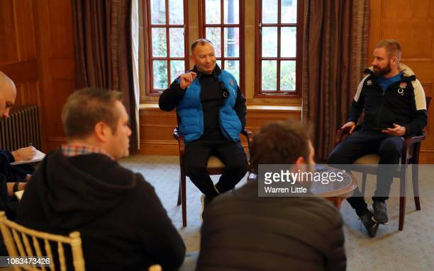 Head Coach of England Eddie Jones speaks to the media during a press conference at Pennyhill Park on November 19 2018 in Bagshot England