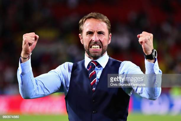 Head Coach of England Gareth Southgate celebrates after the 2018 FIFA World Cup Russia Round of 16 match between Colombia and England at Spartak...