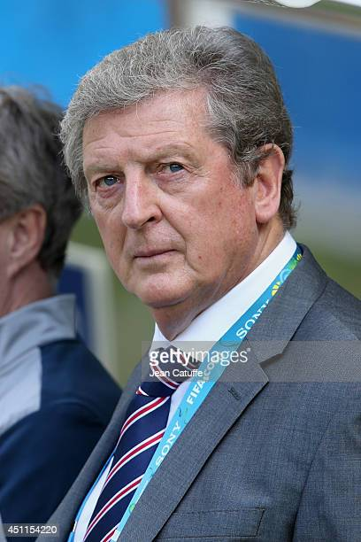 Head coach of England Roy Hodgson looks on during the 2014 FIFA World Cup Brazil Group D match between Costa Rica and England at Estadio Mineirao on...