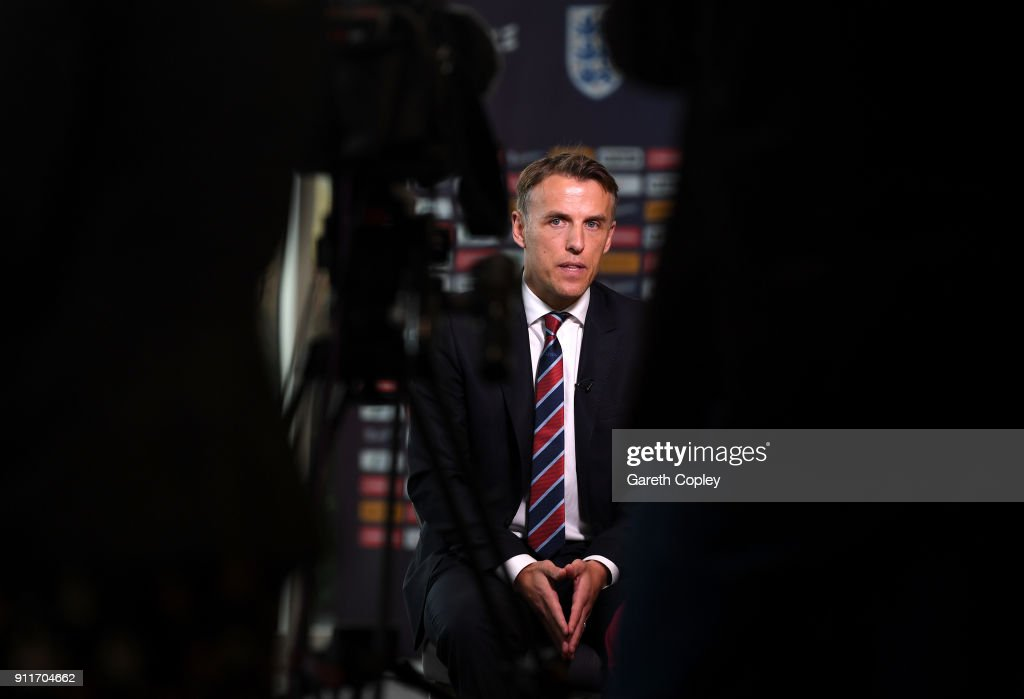 Head Coach of England Women, Phil Neville attends a England Women's Press Conference at St Georges Park on January 29, 2018 in Burton-upon-Trent, England.