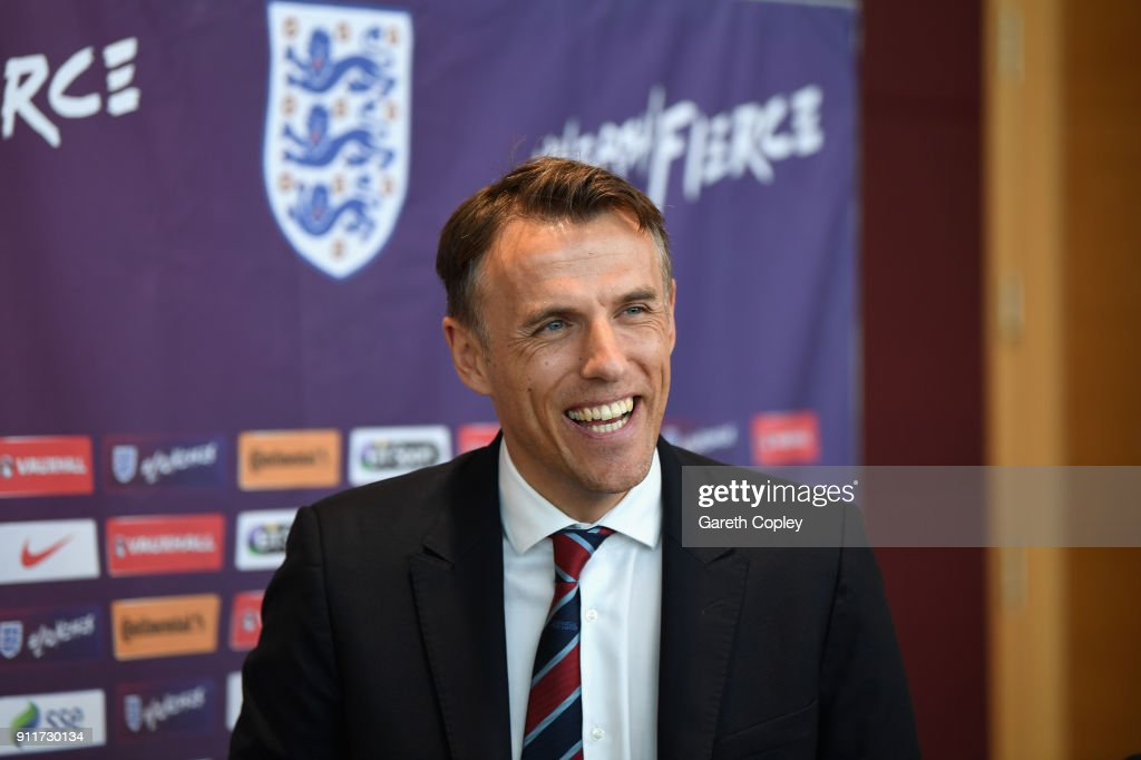 Head Coach of England Women, Phil Neville speaks during a England Women's Press Conference at St Georges Park on January 29, 2018 in Burton-upon-Trent, England.