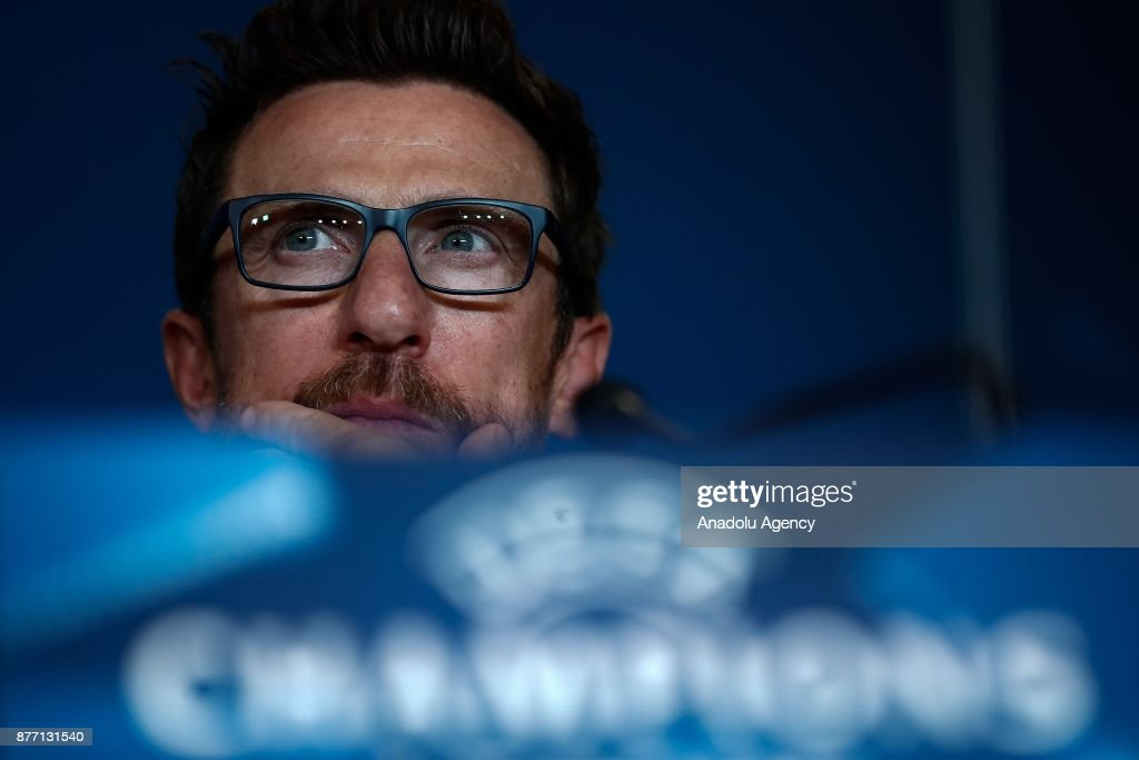 Head Coach of Eusebio Di Francesco is seen during a pre-match press conference ahead of UEFA Champions League Group C match between Atletico Madrid and AS Roma at Wanda Metropolitano in Madrid, Spain on November 21, 2017.