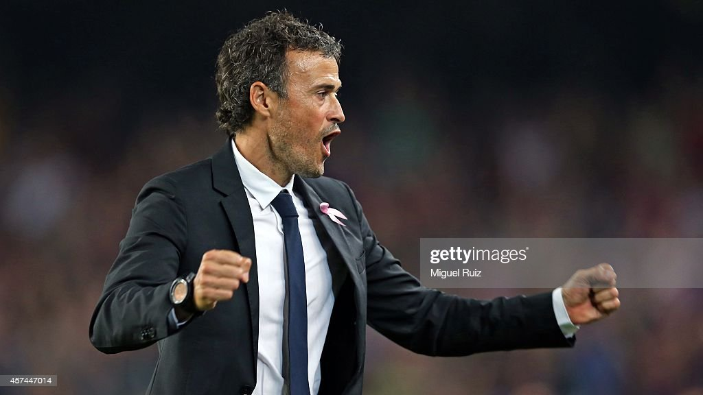 Head coach of FC Barcelona Luis Enrique celebrates the second goal during the La Liga match between FC Barcelona and SD Eibar at Camp Nou on October 18, 2014 in Barcelona, Spain.
