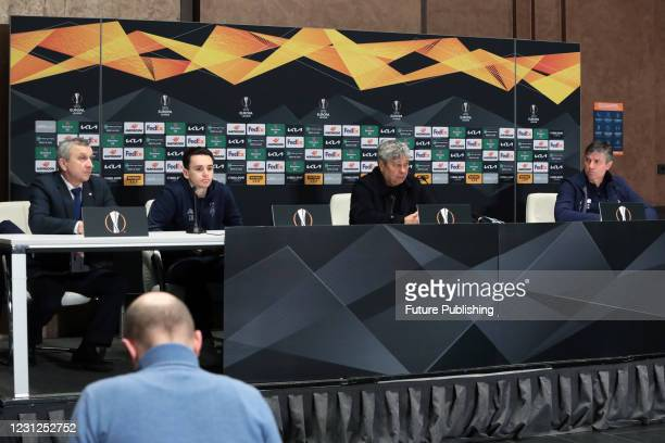 Head coach of FC Dynamo Kyiv Mircea Lucescu and midfielder Mykola Shaparenko are pictured during the post-match news conference after a 1-1 draw in...