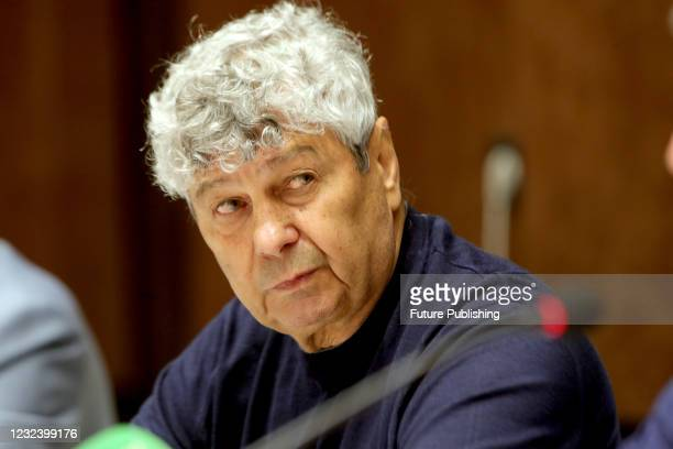 Head coach of FC Dynamo Kyiv Mircea Lucescu attends a post-match news conference after his charges claimed a 1-0 win over FC Shakhtar Donetsk in the...