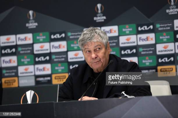 Head coach of FC Dynamo Kyiv Mircea Lucescu attends the post-match news conference after a 1-1 draw in the UEFA Europa League Round of 32 1st leg...