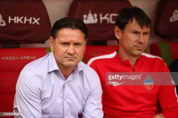 Head coach of FC Enisey Dmitri Alenichev and Egor Titov during the Russian Premier League match between FC Rubin Kazan and FC Enisey Krasnoyarsk at...