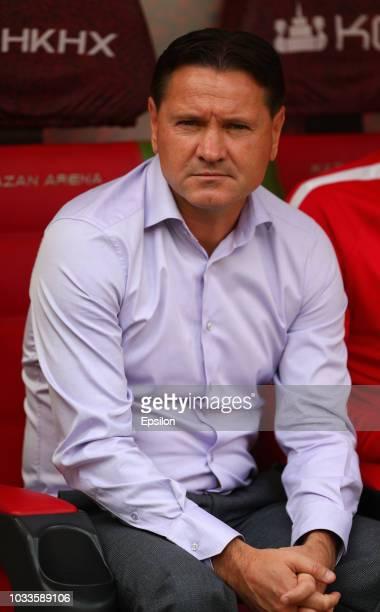 Head coach of FC Enisey Dmitri Alenichev during the Russian Premier League match between FC Rubin Kazan and FC Enisey Krasnoyarsk at Kazan Arena...