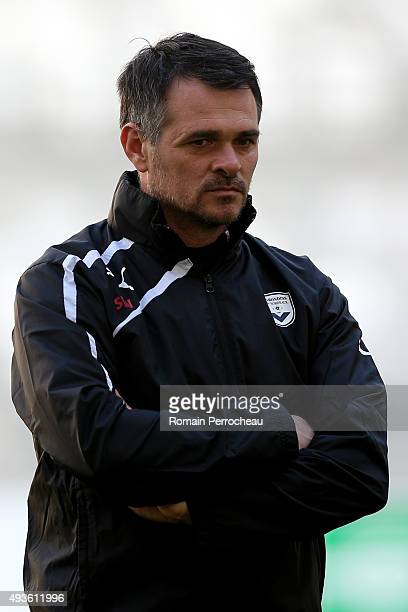 Head Coach of FC Girondins de Bordeaux Willy Sagnol during the training session ahead of their Europa League Game against FC Sion at the Matmut...