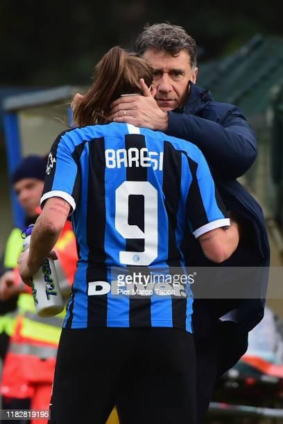 Head Coach of FC Innternazionale Women Attilio Sorbi embraces Regina Baresi of FC Internazionale Women during the Women Serie A match between FC...