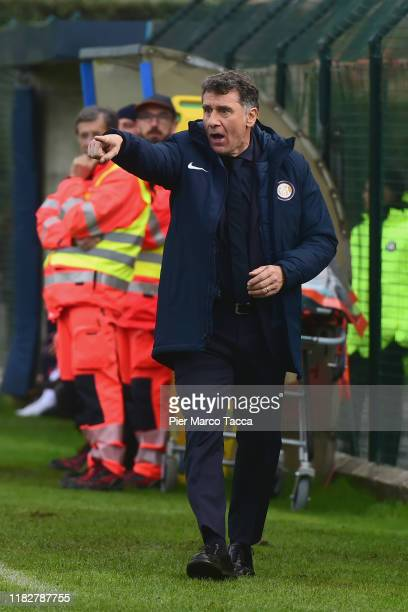 Head Coach of FC Innternazionale Women Attilio Sorbi gestures during the Women Serie A match between FC Internazionale and Orobica at Campo Sportivo...