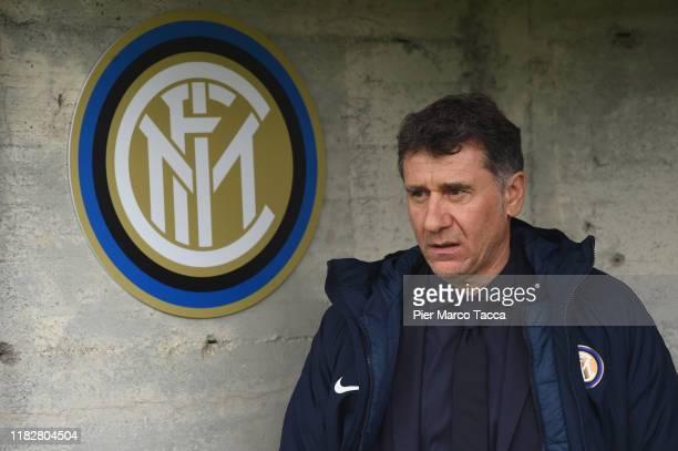 Head Coach of FC Innternazionale Women Attilio Sorbi looks during the Women Serie A match between FC Internazionale and Orobica at Campo Sportivo F...