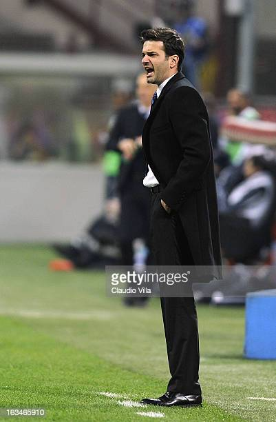 Head coach of FC Inter Milan Andrea Stramaccioni reacts during the Serie A match between FC Internazionale Milano and Bologna FC at San Siro Stadium...