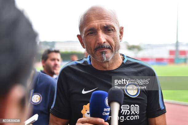 Head coach of FC Inter Milan Luciano Spalletti interviews during a training session International Champions Cup training session at National Stadium...