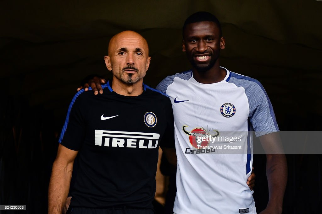 Head coach of FC Interernazionale Luciano Spalletti (L) and Antonio Rudiger #2 of Chelsea FC (R) walks during the International Champions Cup match between FC Internazionale and Chelsea FC at National Stadium on July 29, 2017 in Singapore.