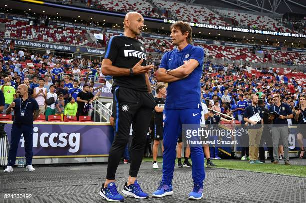 Head coach of FC Interernazionale Luciano Spalletti and Chelsea FC team manager Antonio Conte talks during the International Champions Cup match...