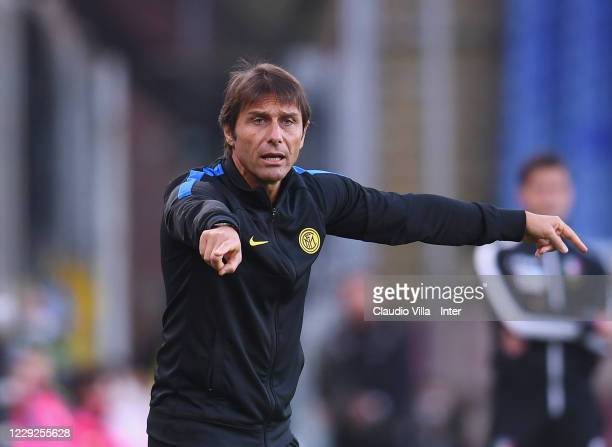 Head coach of FC Internazionale Antonio Conte reacts during the Serie A match between Genoa CFC and FC Internazionale at Stadio Luigi Ferraris on...
