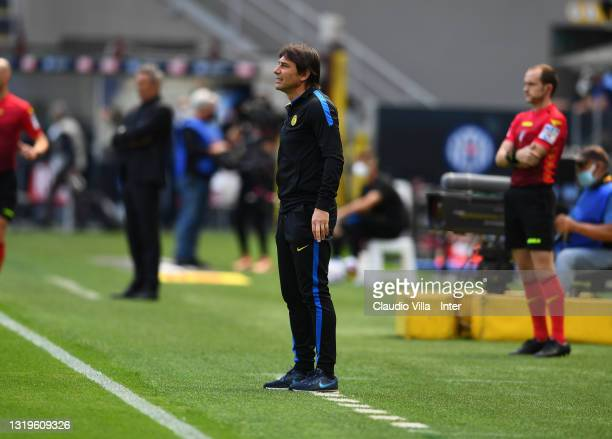 Head coach of FC Internazionale Antonio Conte reacts during the Serie A match between FC Internazionale Milano and Udinese Calcio at Stadio Giuseppe...