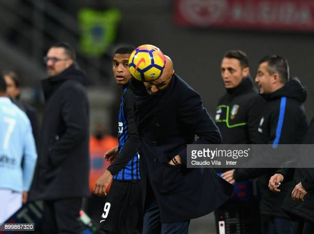 Head coach of FC Internazionale Luciano Spalletti controls the ball during the serie A match between FC Internazionale and SS Lazio at Stadio...