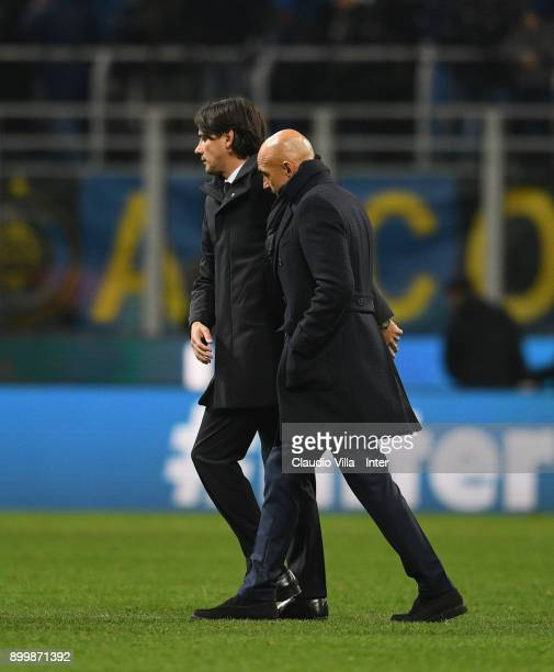 Head coach of FC Internazionale Luciano Spalletti shakes hands with head coach of SS Lazio Simone Inzaghi at the end the serie A match between FC...