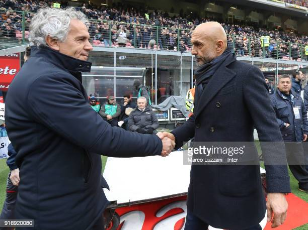Head coach of FC Internazionale Luciano Spalletti shakes hands with head coach of Bologna FC Roberto Donadoni before the serie A match between FC...