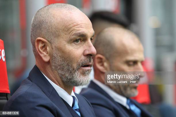 Head coach of FC Internazionale Stefano Pioli looks on from the bench during the Serie A match between FC Internazionale and Empoli FC at Stadio...