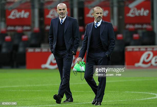 Head coach of FC Internazionale Stefano Pioli warms up ahead of the Serie A match between FC Internazionale and ACF Fiorentina at Stadio Giuseppe...
