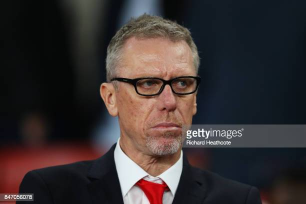 Head Coach of FC Koeln Peter Stoger during the UEFA Europa League group H match between Arsenal FC and 1 FC Koeln at Emirates Stadium on September 14...