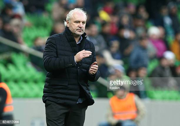 Head coach of FC Krasnodar Igor Shalimov gestures during the Russian Premier League match between FC Krasnodar and FC Ural Ekaterinburg at the...