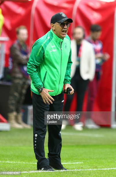 Head coach of FC Rubin Kazan Kurban Berdyev during the Russian Football League match between FC Rubin Kazan and FC Orenburg on May 3, 2019 in Kazan,...