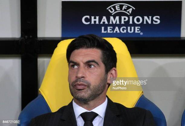 Head coach of FC Shakhtar Paulo Fonseca before the start of the Champions League group F between FC Shakhtar and Napoli at Metalist Stadium in...