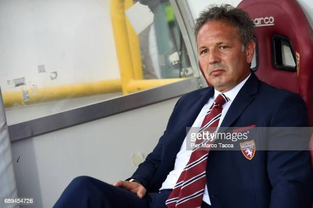 Head Coach of FC Torino Sinisa Mihajlovic looks during the Serie A match between FC Torino and US Sassuolo at Stadio Olimpico di Torino on May 28...